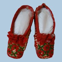 Decorative Child's or Large Doll Shoes - Christmas Red and Green, Leather Soles