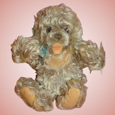 1950's 10 Inch Shaggy Frosty Mohair German Steiff Zottie Bear, Button and Ear Tag,