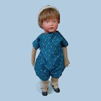 18-3/4 In. Kampkins Cloth Boy Doll, Original Mohair Wig, 2 Outfits, 1919-1928