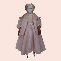23 In. Youthful Face Blond China Shoulder Head Doll, Exposed Ears, Old Cloth Body, Leather Arms, China Lower Legs
