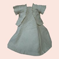 Two Piece Ensemble: White Cotton Marseilles Flannel Backed Doll Dress and Pique Jacket, Circa 1870