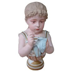 Breathtaking Piece of Art in a Large 17 In. Porcelain Bust of a Young Girl with Downcast Intaglio Eyes