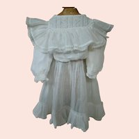 Fabulous White Soft Gauzy Cotton Antique Dress with Ruffles and Lace for Medium Size Doll