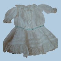 Antique White Lawn Dress for 26-27 In. Doll, Ruffles, Lace, Gathers, Blue Silk Ribbon, WOW!