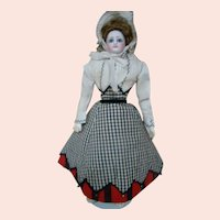 16 In. Marked F.G. French Fashion, Huge Blue Paperweight Eyes, Original Wig and Leather Fashion Body