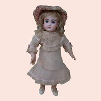 """French Bisque """" Au Nain Bleu """" Paris, Fully Marked Bebe Steiner, Cabinet Size 14.5 In.; Blue PW Eyes,"""
