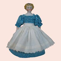 Lovely Youthful 9-1/2 Inch Unglazed Bisque Head (Parian Type) German Doll Called Dolly Madison, All Antique