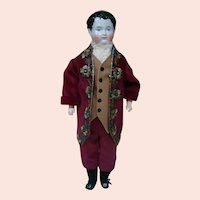 21.5 In. Young Man China Shoulder Head with Side Parted Molded Hair, Stippling, Cloth Body with Wood Lower Arms