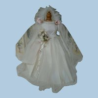 Vintage Bridal Gown, Veil, Slip, Bouquet for Hard Plastic or Composition Doll 24 Inches, Mint, Never Used