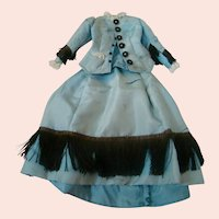 Antique Silk Satin Blue with Black Fringe and Buttons Two-Piece Walking Ensemble for a 16-18 In. French Fashion
