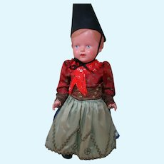 13 Inch All Celluloid German Turtle Mark Character Child, Original in Provincial Attire