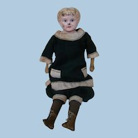 12.5 In. Marked German Tin Shoulder Head Doll, Original Pink Cloth Body, Sewn-0n Boots, Nicely Dressed