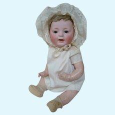 16.5 In. J. D. Kestner German Bisque Head Character Baby Mold #211, Skin Wig, Original Body, Glass Sleep Eyes Retain Original Wax