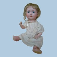 13 In. Bisque Socket A.M. Character Baby Mold #971 on Original 5-Pc Baby Body, Antique Dress, Bonnet, Cotton Knit Panties