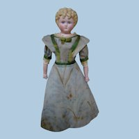 12 In. German Bisque Shoulder Head Lady with Molded Hair, Painted Features, Original Body with Boots