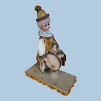 Porcelain Doll Drummer and Cymbal Player Boy Dressed as Clown, Automaton Pull Toy, Wonderful Toy!