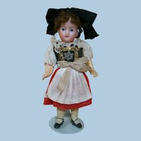 5 In. French Bisque Socket Head Doll Factory Original, Composition Body, Regional Costume, Mohair Wig