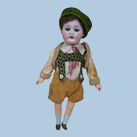 "8-1/2 In. Original "" Globe Baby "" Boy Doll, Dressed in Lederhosen Outfit with Leather Skin Jacket, Blue Sleep Eyes"