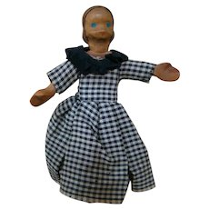 4-3/4 In. Carved Wood Doll, Swivel Neck, Peg Jointed Legs and Arms, Painted Features, Red Carved Wood Shoes