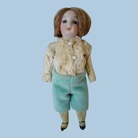5 In. Antique German Bisque Socket Head Boy on Original Five Piece Composition Peg Jointed Body, Glass Eyes, Closed Mouth