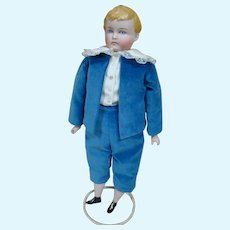 20 Inch Beautiful Male Blond Parian with Blue Eyes, Deeply Molded Curls, Exposed ears, Old Cloth Body, Bisque Arms and Legs