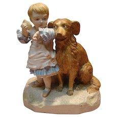 Large Robinson & Ledbetter Porcelain Dual Figurine of Child and Her Dog