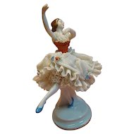 Graceful German Dresden Porcelain Figurine of Ballet Dancer