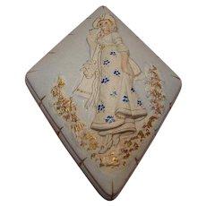 Unique Diamond Shaped Porcelain Dresser Box with Beautiful Lady Motif