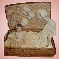 7 Inch Antique All Bisque J.D. Kestner Character Baby in Wicker Trunk