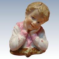 Gebruder Porcelain Bust Figurine of Young Boy, Heubach Mark