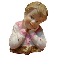 Gebruder Porcelain Bust Figurine of Young Boy, Heubach Mark