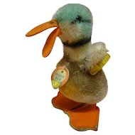 1950's German Original Steiff Duck, Chest Tag, Button, Yellow Tag