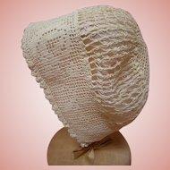 Antique Cotton Ecru Bonnet for Doll with 12-14 Inch Head Cir.