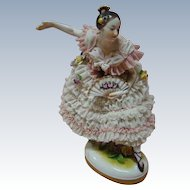 Magnificent Antique German Dresden Lady Ballerina with Fan
