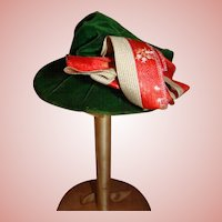Jaunty Emerald Green Velvet Hat  - French Fashion or Small Bebe