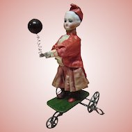 Antique French Mechanical Toy with Bisque Lady by Vichy