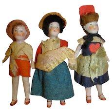 Lot / 3 Original Antique German All Bisque Dollhouse Dolls