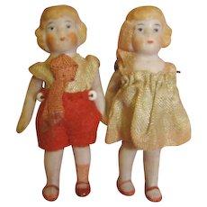 2-1/4 In. Pair / Original Antique German All Bisque Children