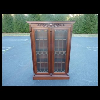 Mahogany Two Door Leaded Glass Bookcase