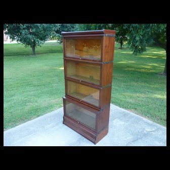 Mahogany 4 Stack Lawyer Barrister Stacking Bookcase