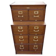 Oak Setback Stacking File Cabinet