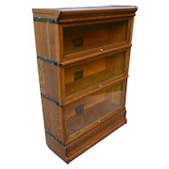 Oak 3 Stack Barrister Lawyer Stacking Bookcase