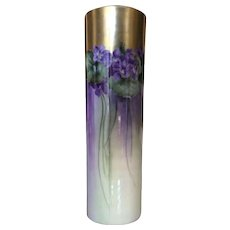 Willets Belleek Violets Cylinder Vase