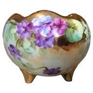 Beautiful Pickard Violets Footed Bowl
