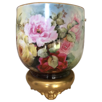 Gorgeous Limoges Roses Jardiniere.