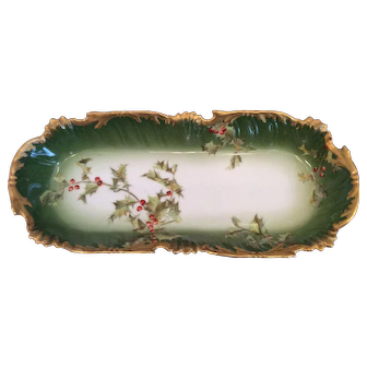 Timeless T & V Limoges Holly and Berry Celery/Vegetable Dish.