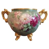 Magnificent Limoges Roses Jardiniere and Tray.