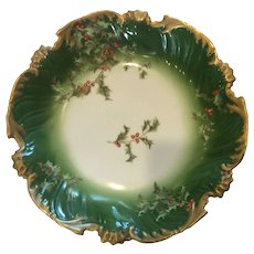 Stunning Limoges Holly and Berry Bowl