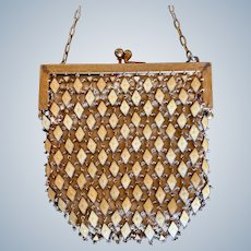 Unusual Vintage Guilloche Linked Metal Mesh Purse