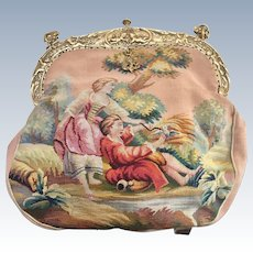 Early 20th Century Figural Tapestry Purse Unusual Color